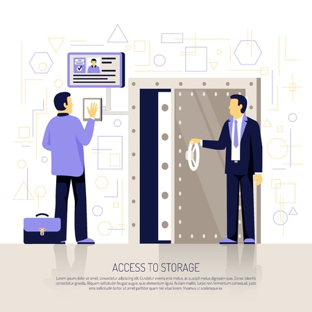 Innovative biometric technologies flat illustration with automated hand identification security system authenticating employee storage access vector illustration