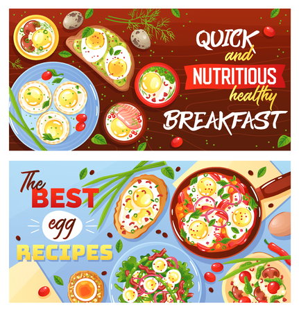 Recipes of egg dishes quick and healthy breakfast set of horizontal flat banners isolated vector illustration