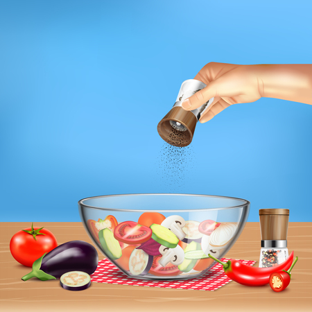Hand with pepper mill over salad from vegetables in glass bowl on blue background realistic vector illustration