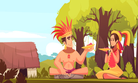 Man and woman from maya family wearing traditional costumes eating outdoors near their hut cartoon background vector illustration Foto de archivo - 103367578