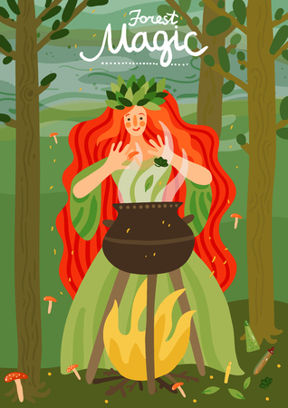Forest magic fairy-tale children book cover title front page with red haired girl character vector illustration