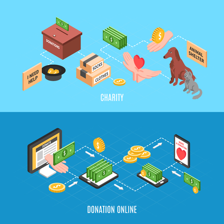 Charity advertising banners with offers to make online donations and humanitarian help isometric icons vector illustration