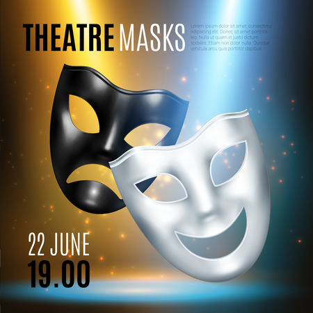 Comedy tragedy masks theatre composition of realistic images editable text captions and blurry background with lights vector illustration