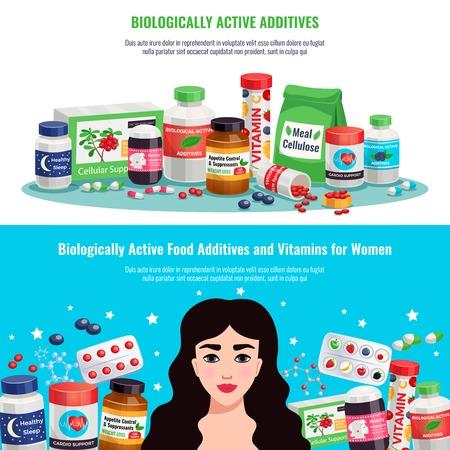 Aditivos alimentarios biológicamente activos y vitaminas para la salud y la belleza de las mujeres banners horizontales ilustración vectorial de dibujos animados