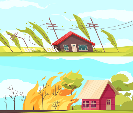 Set of two horizontal natural disasters banners with living houses inflienced by storm wind and fire vector illustration Ilustração