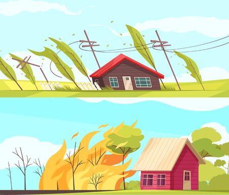 Set van twee horizontale natuurrampenbanners met levende huizen beïnvloed door stormwind en vuur vectorillustratie