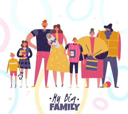 Big happy harmonious family portrait with grandparents young couple with newborn in hands and children of different ages flat vector illustration