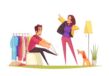El hombre y la mujer se visten y van a caminar con el perro en la ilustración de vector de dibujos animados de la mañana
