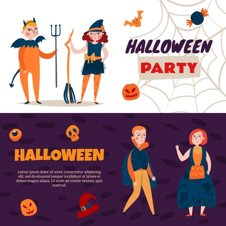 Set of two horizontal halloween kids banners with flat icons and human characters with editable text vector illustration Çizim