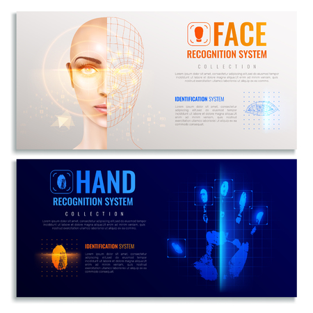 Authorization verification horizontal banners set with biometric scanners symbols realistic isolated vector illustration