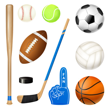 Sport inventory realistic icons set of volleyball basketball football balls hockey stick and baseball bat vector illustration Illustration