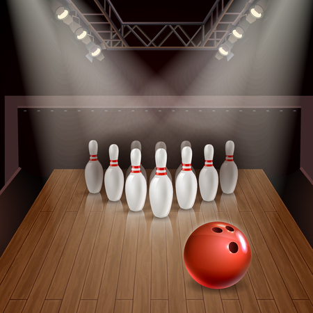 Bowling lane with exposed skittles and red ball under spotlights 3d vector illustration