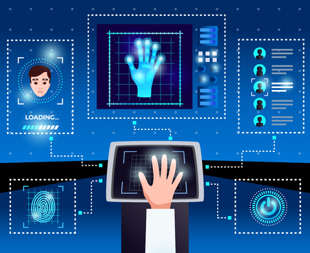 Identification computer technologies schema with integrated touchscreen interface for secure authorized user access blue background vector illustration Çizim