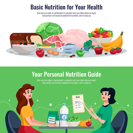 Diet horizontal banners with basic nutrition for good health and personal nutrition guide cartoon vector illustration Иллюстрация