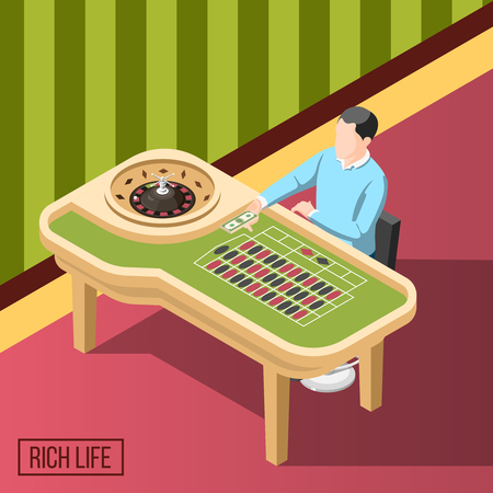 Rich life isometric background with man sitting at gaming table in casino vector illustration