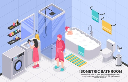 Family bathroom with shower cabin cubicle washing machine isometric composition with taking bath brushing teeth vector illustration Illustration