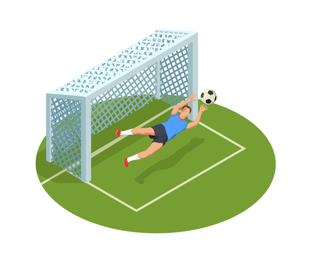Football soccer isometric people composition with images of goal cage court and human character of goalkeeper vector illustration