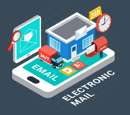 Electronic mail isometric composition with abstract elements on this theme combined together vector illustration Illustration