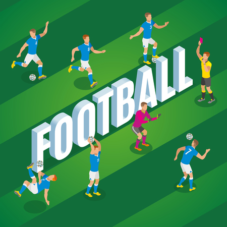 Football isometric background with players in motion kicking ball on stadium field vector illustration