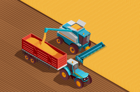 Agricultural machines isometric background with grain and harvest symbols vector illustration