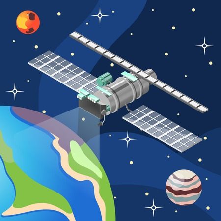 Weather satellite with meteorology equipment in space, dark background with earth, planets and stars, isometric vector illustration