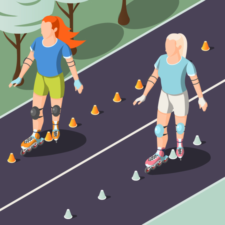 Two young women in sport uniform riding on rollers in park tracks isometric vector illustration