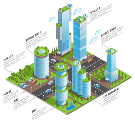 Isometric futuristic skyscrapers infographics with shopping business centers skyscraper and other elements of city vector illustration