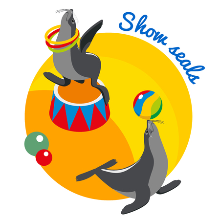 Seals show round design concept with circus animals balancing ball on nose and rotating hoop around neck isometric vector illustration Illustration