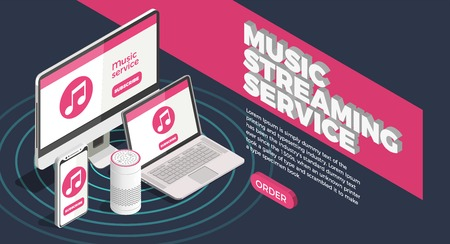 Music industry isometric poster with streaming service symbols vector illustration Çizim