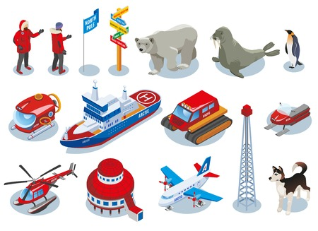 Arctic research isometric icons, scientists, polar station, northern animals, vehicles, ice drilling isolated vector illustration