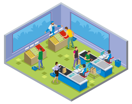 Shopping isometric composition with people during vegetables buying and payment on cash desk vector illustration
