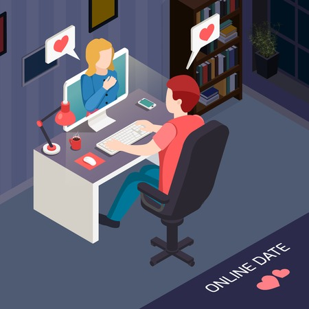 Romantic date online isometric composition with couple during internet communication by computer vector illustration