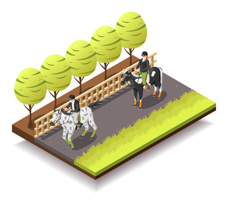 Horse riding isometric composition with riders on horseback in jockey equipment 3d vector illustration