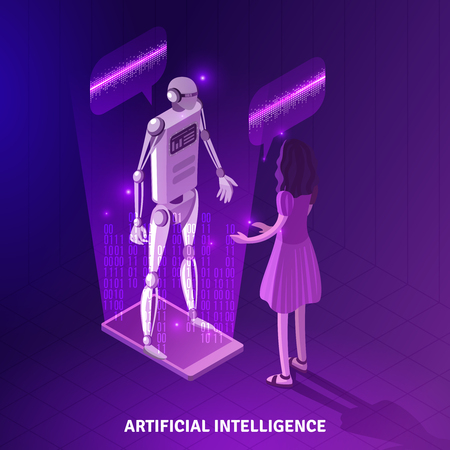 Artificial intelligence isometric composition on violet background with girl during communication with chat bot vector illustration