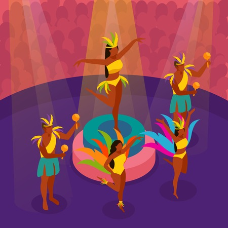 Brazilian carnival dancing with festival and fun symbols isometric vector illustration