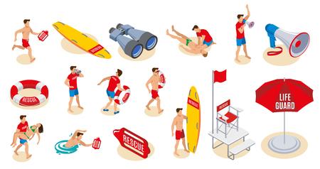 Los iconos isométricos del inventario de los socorristas de la playa fijaron de la silla de la tabla de surf del salvavidas del paraguas del altavoz binocular con la ilustración del vector aislado de la bandera Ilustración de vector