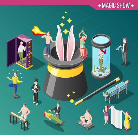 Magic show isometric composition with bunny in hat, danger tricks, levitation on green background vector illustration
