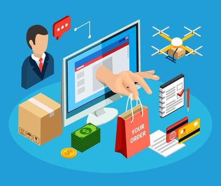 Concetto di logistica con servizio di consegna online 3d isometrico illustrazione vettoriale