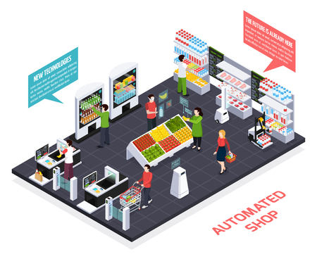 Automated shop isometric composition, virtual reality for goods information, robot equipment, smart shelves, security system vector illustration Stock Illustratie