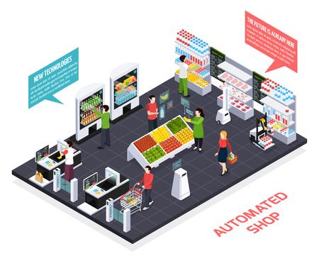Composizione isometrica del negozio automatizzato, realtà virtuale per informazioni sulle merci, apparecchiature robotiche, scaffali intelligenti, illustrazione vettoriale del sistema di sicurezza Vettoriali