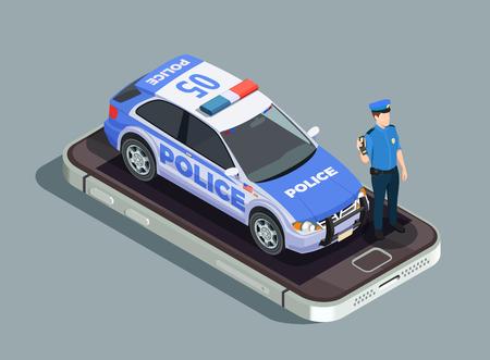 Isometrisches Konzept der Polizei mit Vektorillustration des Offiziersautos und der Telefonsymbole