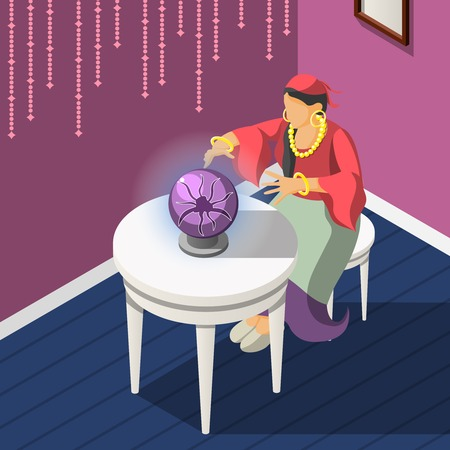 Gypsies isometric background with woman dressed in national costume guessing on magic sphere vector illustration