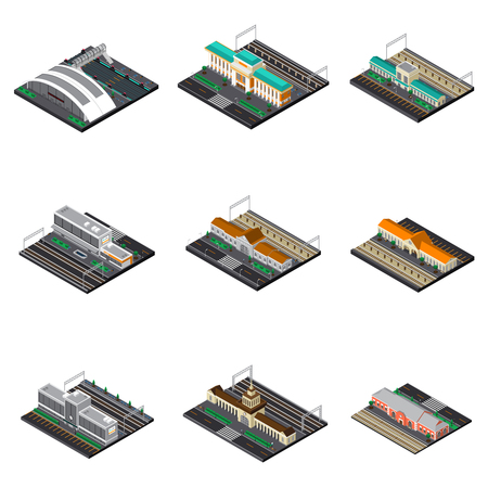 Railway station isometric set of modern and buildings futuristic and train museum under open sky isolated vector illustration