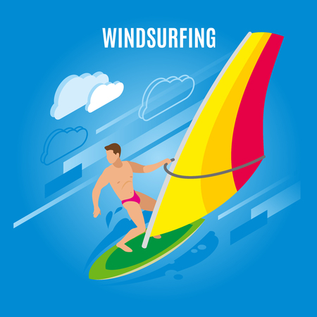 Surfing isometric background with figure of male character on surf board with sail and clouds images vector illustration