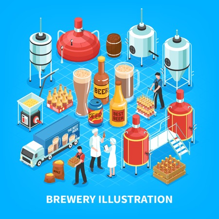 Brewery production isometric elements composition with barley grain milling  mashing boiling fermentation bottling blue background vector illustration