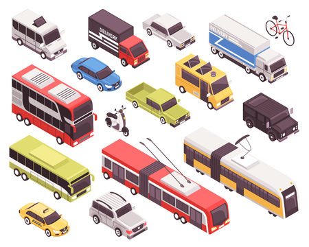 Public transport including bus, trolley, tram, personal vehicles, taxi, trucks, set of isometric icons isolated vector illustration Çizim
