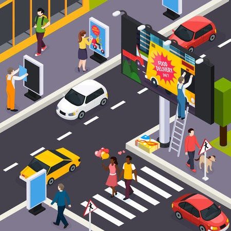 Advertising agency installers placing banners posters signs within busy city streets crossroads daytime isometric composition vector illustration Illustration
