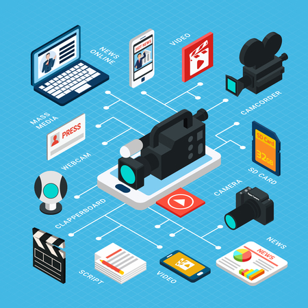 Photo video isometric flowchart composition with isolated icons pictograms and images of electronic equipment for filming vector illustration