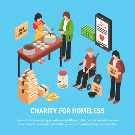 Charity for homeless isometric design concept with volunteers feeding free food for disabled people vector illustration