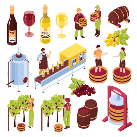 Winery isometric set vineyard with harvest pressing of grapes bottling conveyor drink in goblets isolated vector illustration Vectores